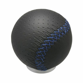 LEATHER KNOB R 240 BLUE STITCH